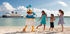 Disney Cruise Line - Donald Duck and a Family enjoying Castaway Cay